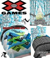 X Games Bmx Bike Skateboard Boy Sports Bedding Twin/full Sz Comforter Set+drapes
