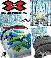 X Games Bmx Bike Skateboard Boy Sports Bedding Twin/full Sz Comforter Set+drapes