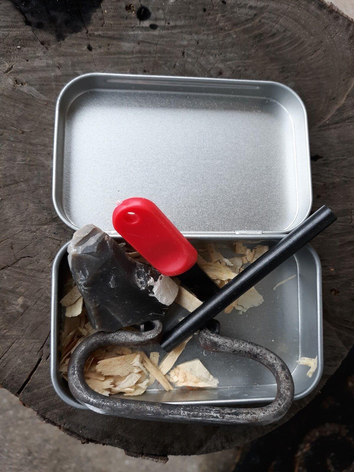 Flint and Steel Kit flint striker  W  Hinged Tin Box firesteel ferro rod striker  save 60% discount
