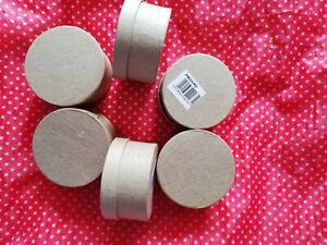 6 Craft Boîtes Rondes Mariage Fête Bonbons Décoration Decoupis, Peinture 7.5 Cm X 4 Cm-afficher Le Titre D'origine