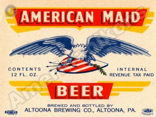 Pennsylvania Altoona American Maid Beer New Metal Sign Altoona Brewing Co