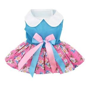 Doggie-Design-Pink-and-Blue-Plumeria-Designer-Dog-Dress-with-Matching-Leash-XS-L