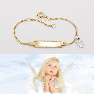 Geschenk zur Taufe Baby Geburt Ident Armband Echt Gold 333 mit Name Datum Gravur