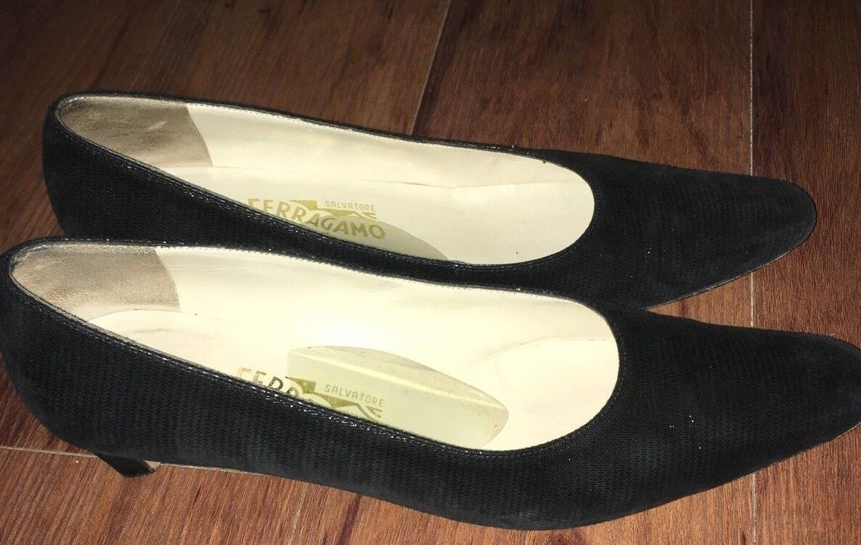 Salvatore AAA Ferragamo Size 9 3A AAA Salvatore Narrow Black Heels Pumps Women's Shoes 64bbf5