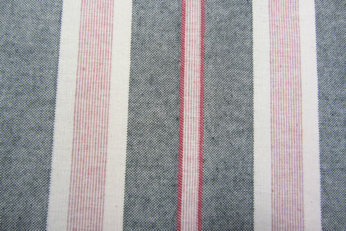 "Princeton French Linen Multi Stripe Charcoal//Red 280cm//108/"" Wide Curtain Fabric"