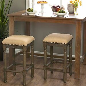 Peachy Details About New Set Of 2 Tan Linen Counter Wood Height Bar Stool Padded Seat Brown Backless Cjindustries Chair Design For Home Cjindustriesco