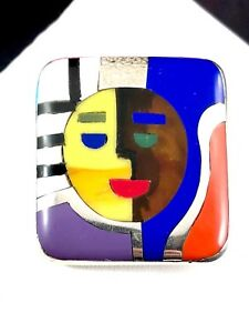 COLORFUL MANUEL PORCAYO FIGUEROA HECHO A MANO 950 STERLING FUSED GLASS BROOCH