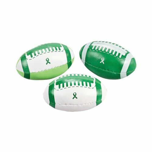 2 Cancer Awareness Green Ribbon Mini Football