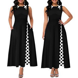 Womens Polka Dot Vintage Sleeveless Long Maxi Summer Casual Party Cocktail Dress