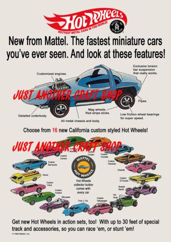 Hot wheels redline 1968 encadrée A4 Taille Affiche Publicité Magasin Signe notice