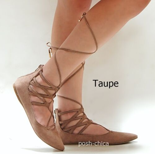 New Women AA2 Black Tan Taupe Pointed Wrap Lace Up Ballet Flats