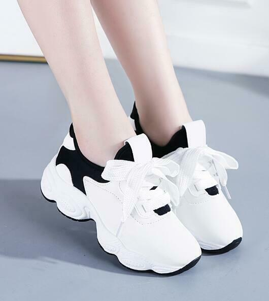 Womens Med Wedge Platform Creepers Sneakers Lace Up Casual Muffins Athletic H392