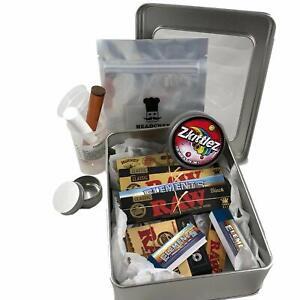 RAW Cigarette Smokers Rolling Gift Tin Box Set - Smoking Hamper Kit - Window Lid