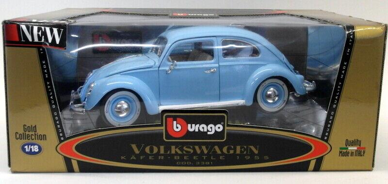 Burago 1 18 Scale Diecast 3381 Volkswagen Kafer Beetle 1955 Light bluee Model Car