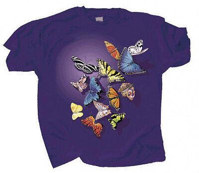 Kids T Shirt Butterfly Butterflies Sm Md Lg Cotton Swallowtail Monarch Blue Moth