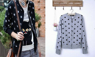 Korea Women Girl Lolita Star Zipper Round Neck Sweater Cardigan Coat Jacket