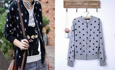 Korea Women Girl Lolita Star Zipper Round Neck Sweater Cardigan Coat Jacket