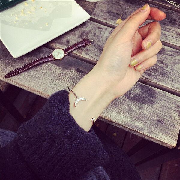 New Women Fashion Style Gold Crystal Rhinestone Bangle Cuff Bracelet Jewelry