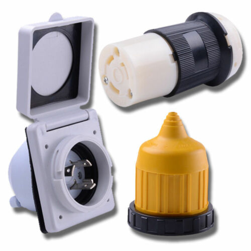 RV Power Twist Lock Plug Inlet 30 amp 30a male Female Locking Connector cord kit