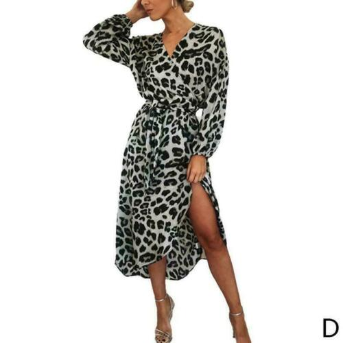 Women Leopard Print Long Sleeve Midi Dress V Neck Party Dress Wrap Shirt W8A9