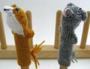 Orange FOX or Gray BADGER Handknitted fingerpuppet PERU Folk Adorable Handmade