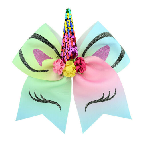 Kids Girls JOJO Unicorn Hair Bow Pin Alligator Clip Hairpins   Bowknot