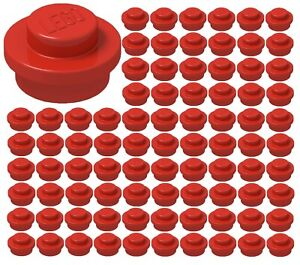 4073 Lot of 100 Lego TRANS RED 1x1 PLATE ROUND New