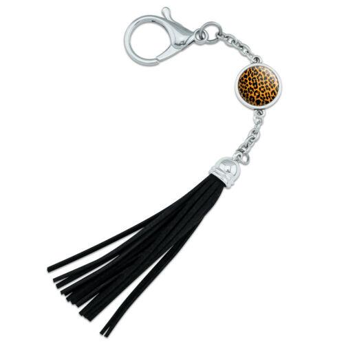 Leopard Print Orange and Black Backpack Handbag Purse Keychain Tassel Charm