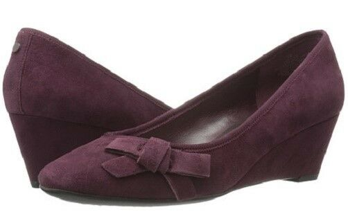 Easy Spirit Shyma wedge pumps wine suede leather heels sz 9.5 WIDE New
