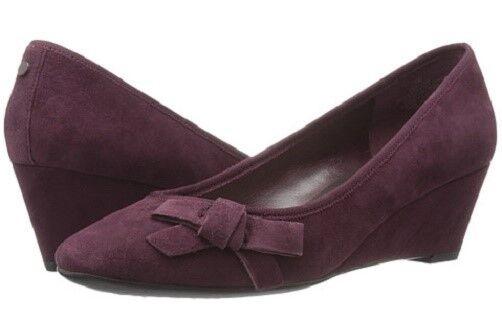 Easy Spirit Shyma wedge pumps wine suede leather heels sz 8 WIDE New