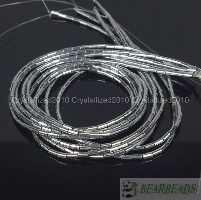 Hematite Gemstone 2mm x 4mm Tube Beads 16'' Metallic Silver Gold Blue Purple
