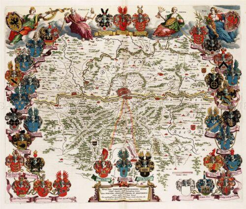 MAP 1663 BLAEU FRANKFURT CITY PLAN PICTORIAL LARGE REPLICA POSTER PRINT PAM0160