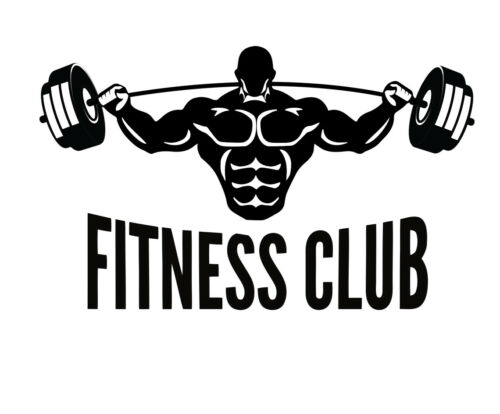 Fitness Club Gym Keep Fit Sign Logo Weights Muscle Wall Decal Sticker Picture