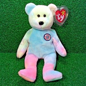 Rare Ty Beanie Baby  B.B Bear  Colorful Birthday Teddy Retired Plush ... 5e7d3046767