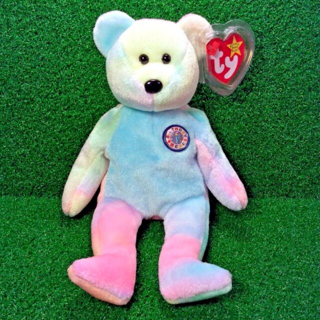 Rare Ty Beanie Baby  B.B Bear  Colorful Birthday Teddy Retired Plush Toy  MWMT fb6b7c2599f