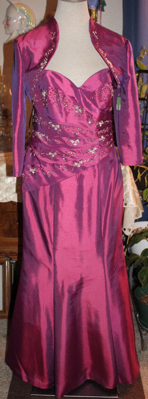 Camille La Vie pink beaded taffeta bridesmaids evening formal long 6 & bolero