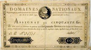 ASSIGNAT original - 1792 - 50 livres - N° 366501 - RARE