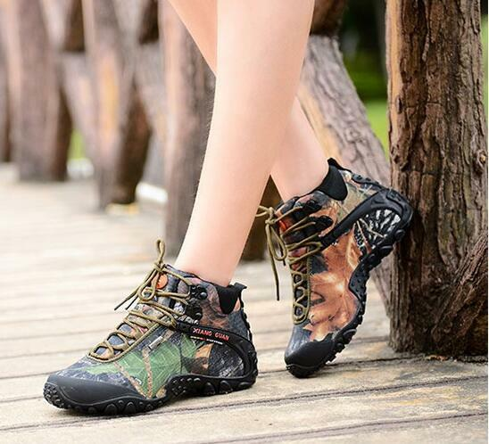 7670 Outdoor  Camo Waterproof shoes Women's Hiking Camping Climbing Ankle Boots  fashionable