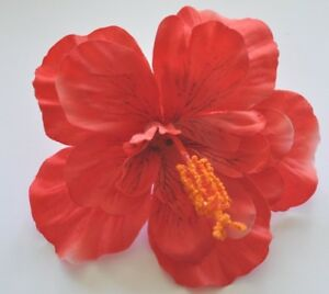 5 Bright Red Double Hibiscus Silk Flower Hair Clip Pinup Luau