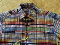 Luchiano Visconti L/s Shirt Mens S Navy W/multi Color Abstract Lines $125