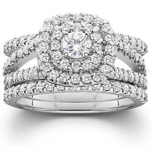 1 1/4ct Diamond Engagement Cushion Halo Wedding Ring Trio Set 10K White Gold