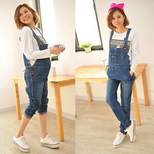 Maternity-Jeans-Dungarees-Pregnancy-Trousers-Overalls-Denim-Cute-8-10-12-14