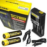 Nitecore Sc2 Battery Charger Fast Charge W/2x 18650 Rechargeable Li Ion Nl183 D