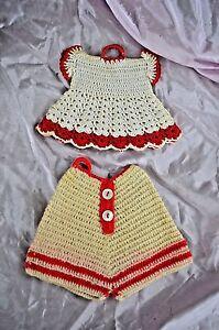 Vintage Pot Holder Set Dress and Shorts Crochet