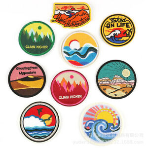 Scenery-Round-Badges-Embroidery-Iron-on-Patch-Nature-Appliques-Shirt-Hat-Bag-DIY