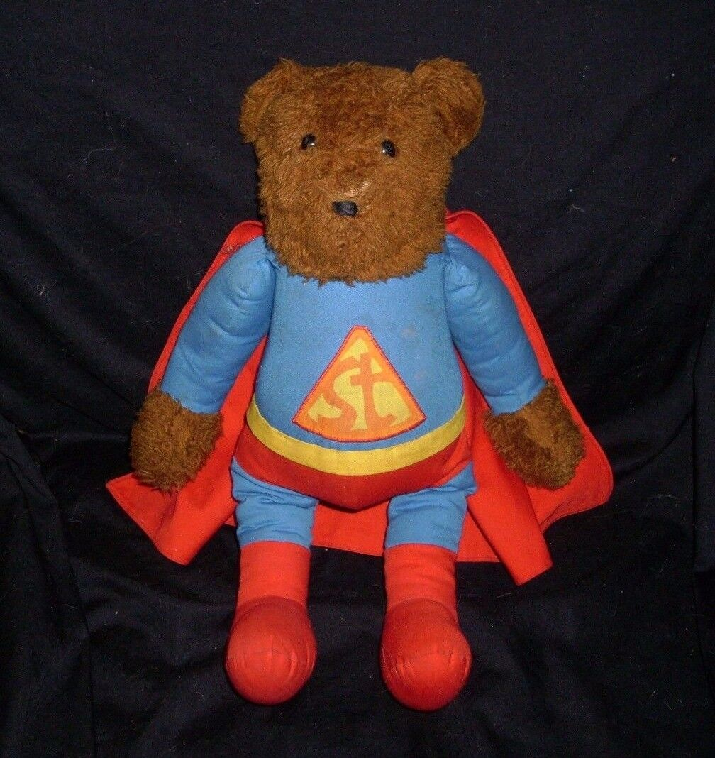 VINTAGE ST braun TEDDY BEAR SUPER MAN SUPERMAN STUFFED ANIMAL PLUSH TOY W/ CAPE