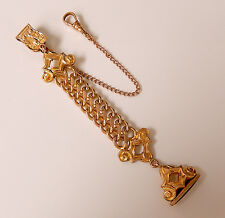 ANTIQUE GOLD FILLED CLIP TOP POCKET WATCH CHAIN & AMETHYST GLASS FOB #909Y