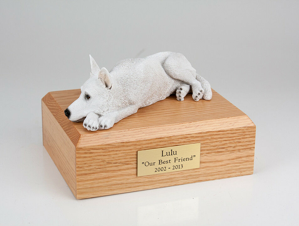 German Shepherd bianca Pet Funeral Cremation Urn Avail in 3 Diff Colores & 4 Dimensiones