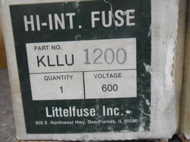 New  Littelfuse KLLU 1200 1200 Amp Fuse Bussmann KLU-1200 600V Class L NIB