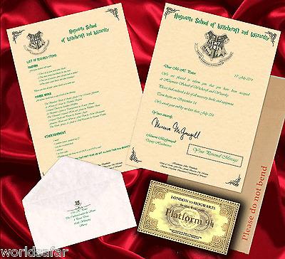 HARRY POTTER Hogwarts PAKET Brief Personalisiert Geschenk